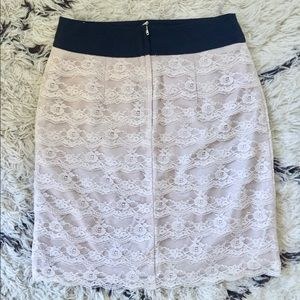 H&M tiered scalloped lace pencil skirt champagne